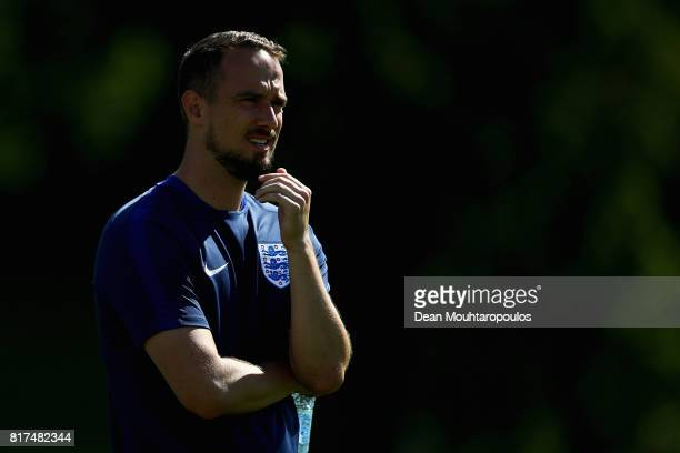 Head Coach / Manager Mark Sampson of the England women's national team looks on during a training session on the eve of their UEFA Women's 2017 Group...