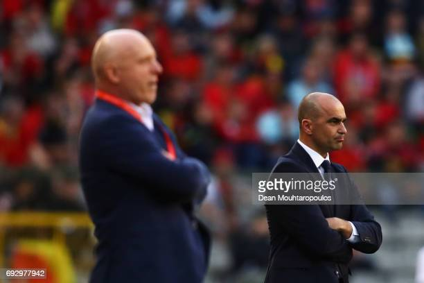 Head coach / Manager of Belgium Roberto Martinez and Czech Republic Head Coach / Manager Karel Jarolim look on during the International Friendly...
