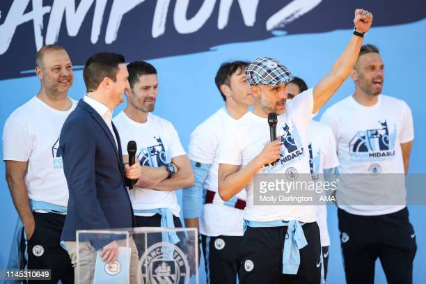 Head Coach / Manager of Manchester City, Pep Guardiola during the Manchester City trophy parade in Manchester on May 20, 2019 in Manchester, England.