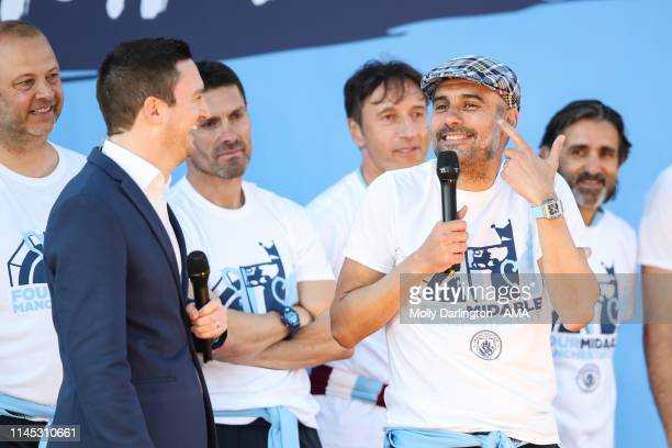 Head Coach / Manager of Manchester City Pep Guardiola during the Manchester City trophy parade in Manchester on May 20 2019 in Manchester England