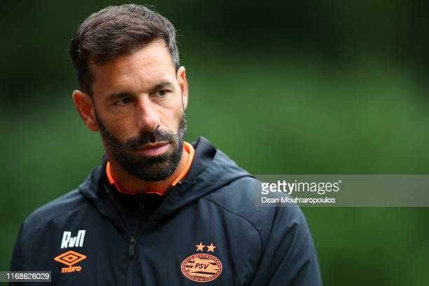 Head Coach / Manager, Ruud van Nistelrooy gives his players instructions from the sidelines during The Otten Cup match between PSV Eindhoven and FC...