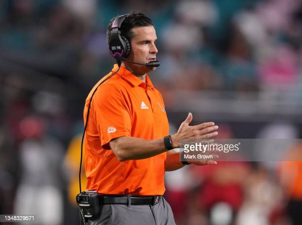 Head Coach Manny Diaz of the Miami Hurricanes looks on during the game against the North Carolina State Wolfpack during the first half at Hard Rock...