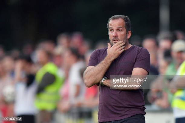 Head coach Manuel Baum of Augsburg gestures during the preseason friendly match between SC Olching and FC Augsburg on July 19 2018 in Olching Germany