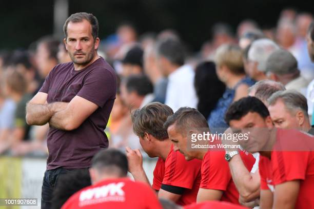 Head coach Manuel Baum of Augsburg looks on during the preseason friendly match between SC Olching and FC Augsburg on July 19 2018 in Olching Germany