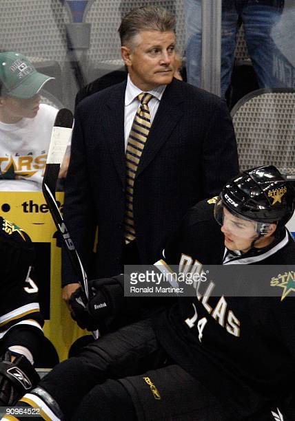 Head coach Marc Crawford of the Dallas Stars at American Airlines Center on September 16 2009 in Dallas Texas