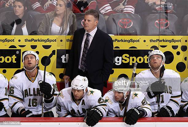 Head coach Marc Crawford of the Dallas Stars during the NHL game against the Phoenix Coyotes at Jobingcom Arena on December 11 2010 in Glendale...