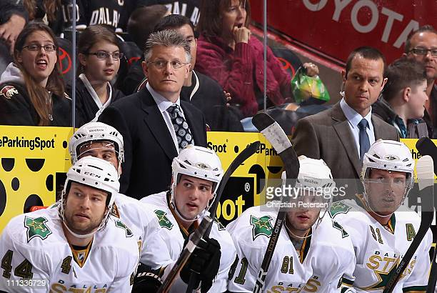 Head coach Marc Crawford of the Dallas Stars during the NHL game against the Phoenix Coyotes at Jobingcom Arena on March 29 2011 in Glendale Arizona...