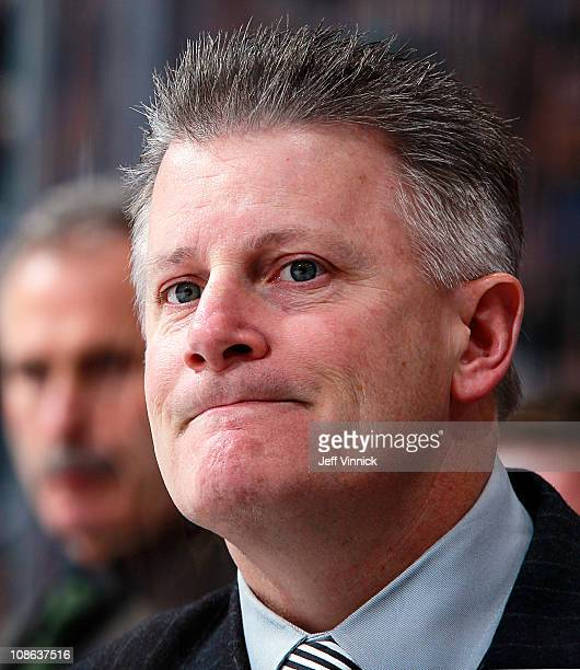 Head coach Marc Crawford of the Dallas Stars looks on from the bench during their game against the Vancouver Canucks at Rogers Arena on January 24...