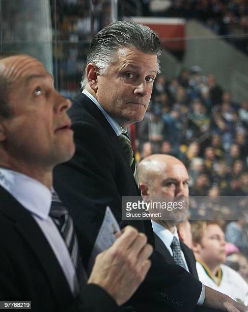 Head Coach Marc Crawford of the Dallas Stars watches his team play against the Buffalo Sabres at the HSBC Arena on March 10 2010 in Buffalo New York