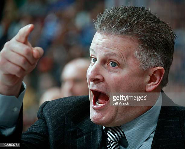 Head coach Marc Crawford of the Dallas Stars yells at the referees during their game against the Vancouver Canucks at Rogers Arena on January 24 2011...