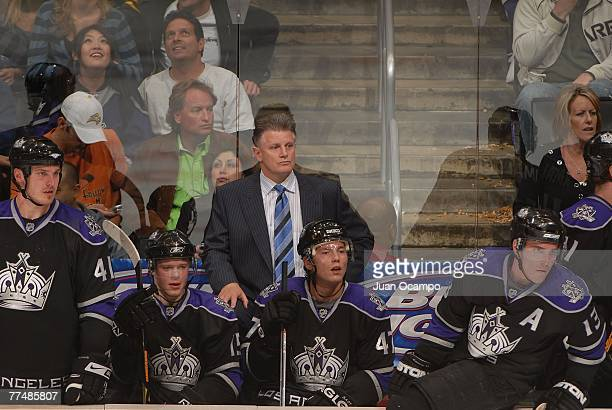 Head coach Marc Crawford of the Los Angeles Kings watches the game against the Boston Bruins on October 12 2007 at the Staples Center in Los Angeles...
