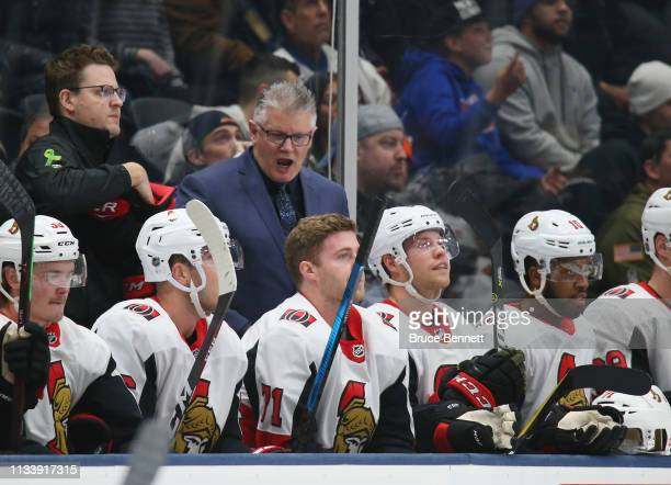Head coach Marc Crawford of the Ottawa Senators handles bench duties against the New York Islanders at NYCB Live's Nassau Coliseum on March 05 2019...