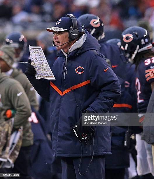 Head coach Marc Trestman of the Chicago Bears calls a play against the Minnesota Vikings at Soldier Field on October 19 2014 in Chicago Illinois The...