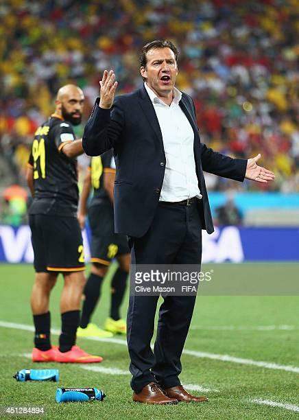 Head coach Marc Wilmots of Belgium gestures during the 2014 FIFA World Cup Brazil Group H match between Korea Republic and Belgium at Arena de Sao...