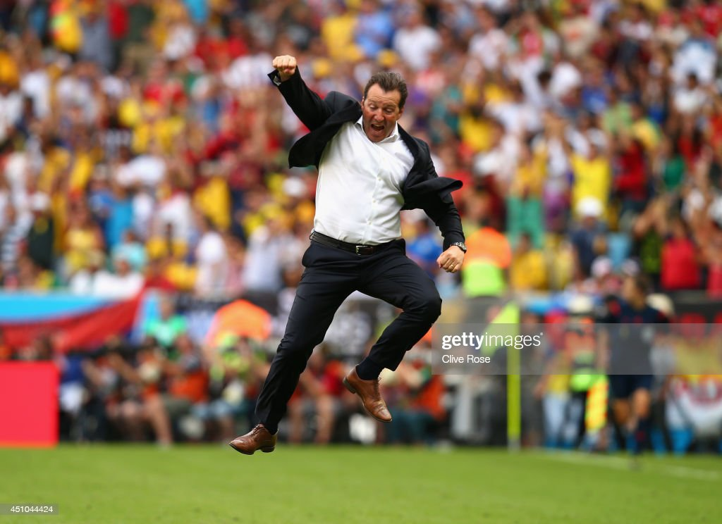 Head coach Marc Wilmots of Belgium reacts after defeating Russia 1-0 during the 2014 FIFA World Cup Brazil Group H match between Belgium and Russia at Maracana on June 22, 2014 in Rio de Janeiro, Brazil.