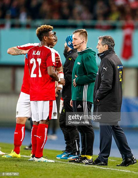Head coach Marcel Koller of Austria instructs David Alaba during the international friendly match between Austria and Turkey at ErnstHappelStadium on...