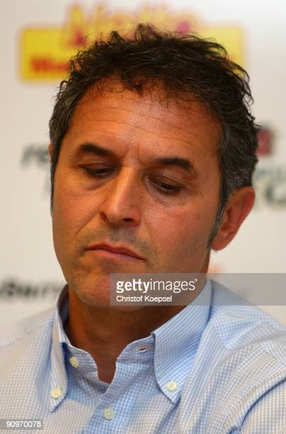 Head coach Marcel Koller of Bochum looks thoughtful during the press conference after losing 2-3 the Bundesliga match between VfL Bochum and FSV...