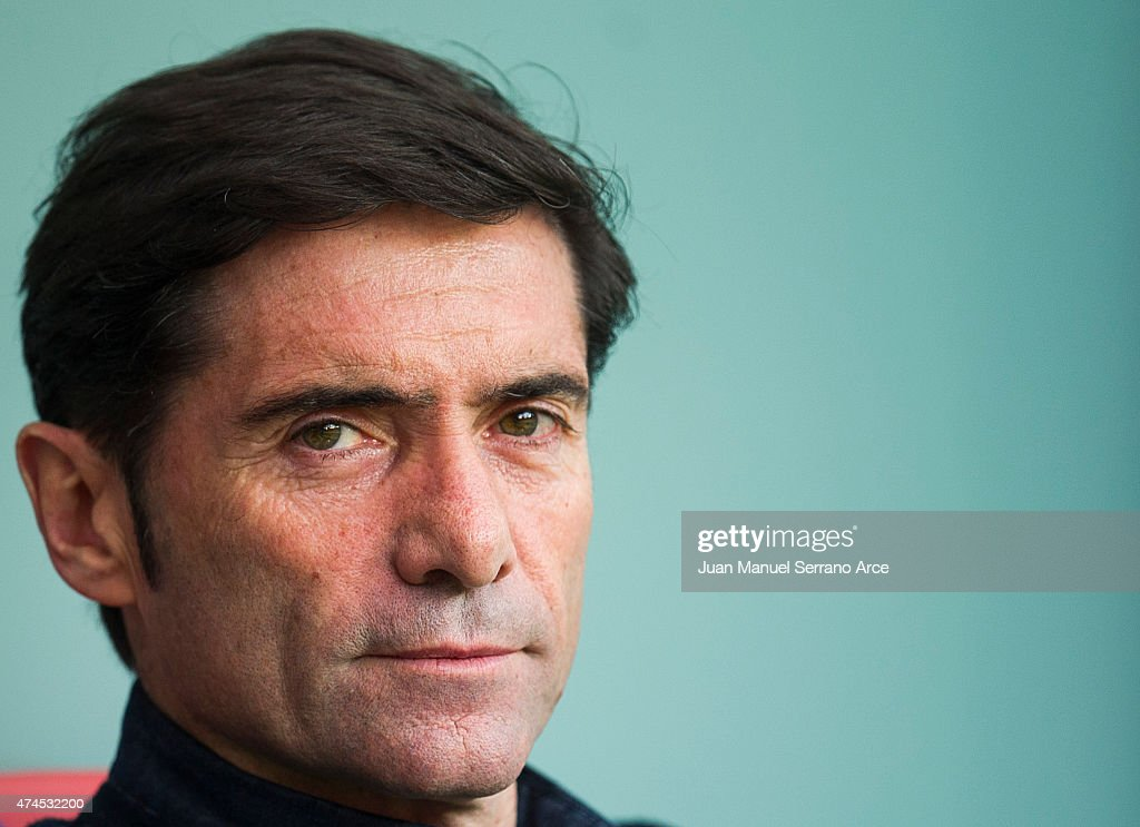 Head coach Marcelino Garcia of Villarreal reacts on prior to the La Liga match between Athletic Club Bilbao and Villarreal CF at San Mames Stadium on May 23, 2015 in Bilbao, Spain.