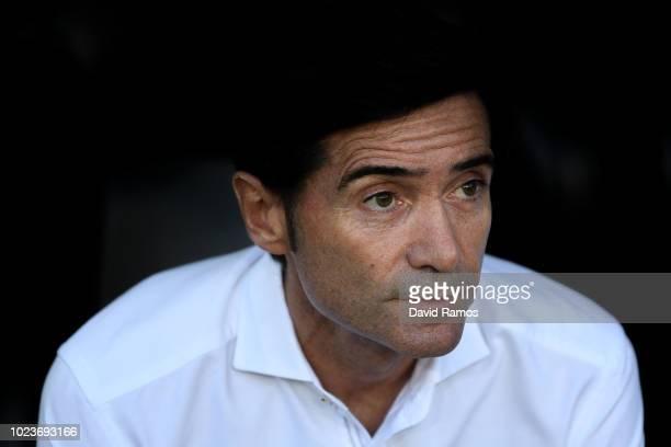Head coach Marcelino Garcia Toral of Valencia CF looks on during the La Liga match between Valencia CF and Club Atletico de Madrid at Estadio...