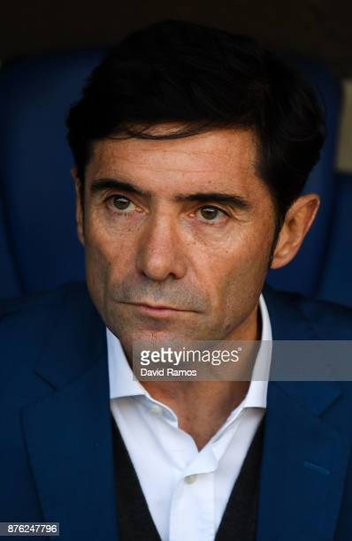 Head coach Marcelino Garcia Toral of Valencia CF looks on during the La Liga match between Espanyol and Valencia at Cornella El Prat stadium on...