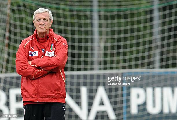 Head coach Marcello Lippi looks on during an Italy national team training session at FIGC Centre at Coverciano on March 1 2010 in Florence Italy