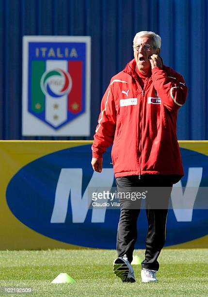 Head coach Marcello Lippi looks on during an Italy training session ahead of their 2010 FIFA World Cup Group Stage Round 2 match against New Zealand...
