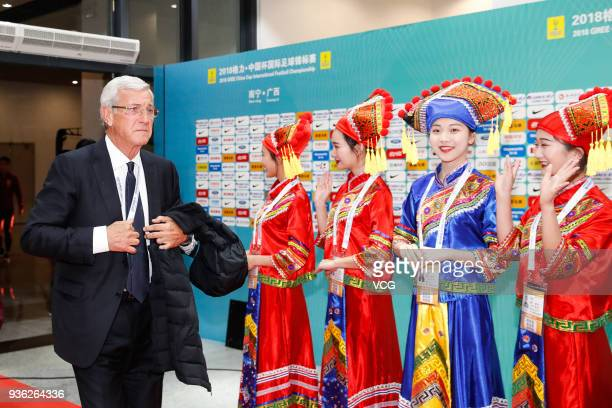 Head coach Marcello Lippi of China arrives at Guangxi Sports Center prior to the 2018 China Cup International Football Championship match between...