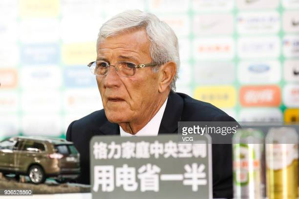 Head coach Marcello Lippi of China attends a press conference after the 2018 China Cup International Football Championship match between China and...
