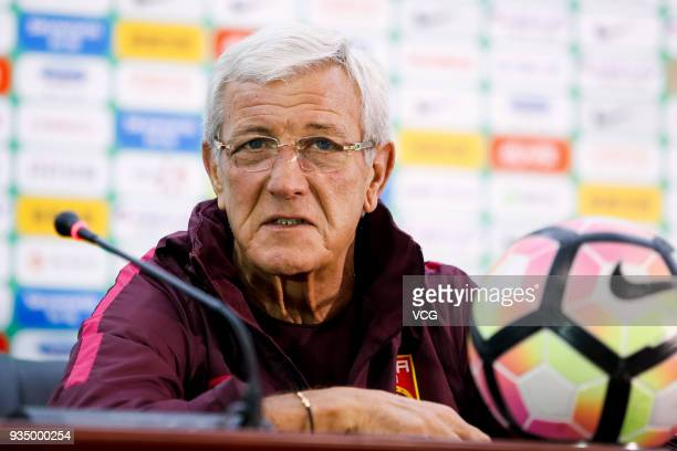 Head coach Marcello Lippi of China attends a press conference ahead of the 2018 China Cup International Football Championship on March 20 2018 in...