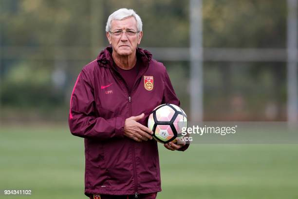 Head coach Marcello Lippi of China attends a training session ahead of the 2018 China Cup International Football Championship on March 19 2018 in...