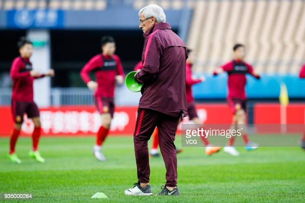 Head coach Marcello Lippi of China attends a training session ahead of the 2018 China Cup International Football Championship on March 20 2018 in...