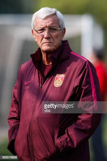 Head coach Marcello Lippi of China attends a training session ahead of the 2018 China Cup International Football Championship on March 21 2018 in...