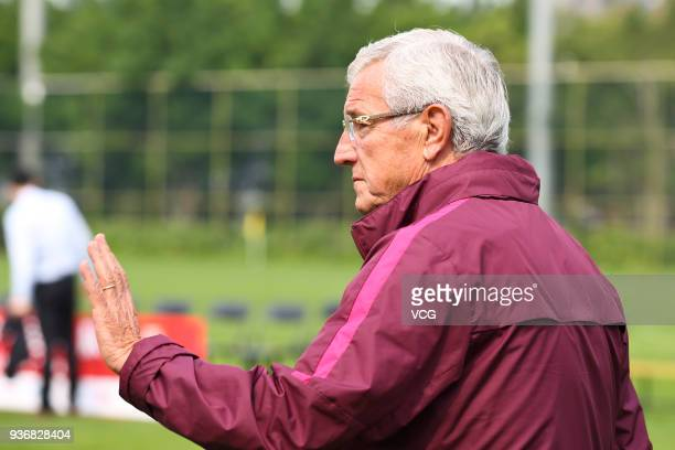 Head coach Marcello Lippi of China attends a training session ahead of the 2018 China Cup International Football Championship on March 23 2018 in...