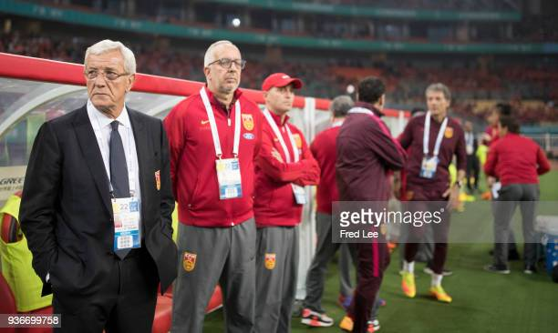 Head coach Marcello Lippi of China looks on during 2018 China Cup International Football Championship between China and Wales at Guangxi Sports...