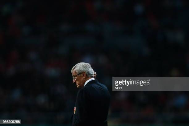 Head coach Marcello Lippi of China looks on during the 2018 China Cup International Football Championship match between China and Wales at Guangxi...