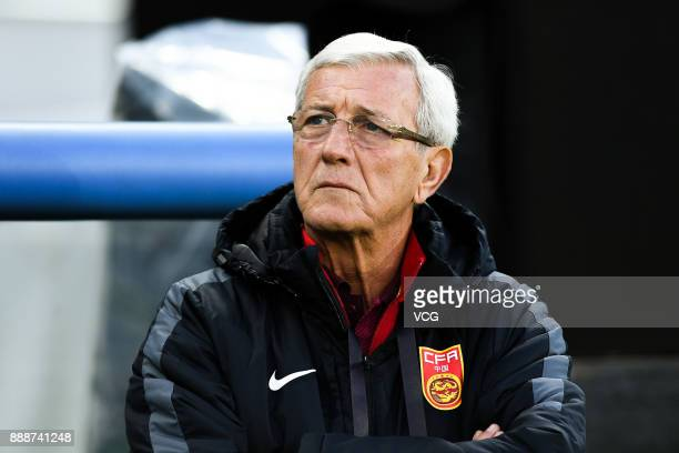 Head coach Marcello Lippi of China national football team looks on during the EAFF E1 Men's Football Championship between South Korea and China at...