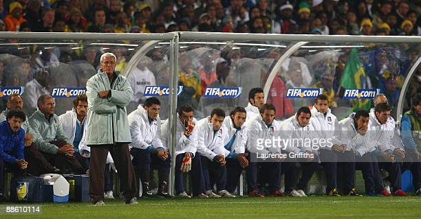 Head coach Marcello Lippi of Italy looks on from the bench during the FIFA Confederations Cup match beween Italy and Brazil at The Loftus Versfeld...