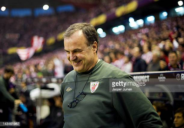 Head Coach Marcelo Bielsa of Athletic Bilbao smiles during the UEFA Europa League semi final second leg match between Athletic Bilbao and Sporting...