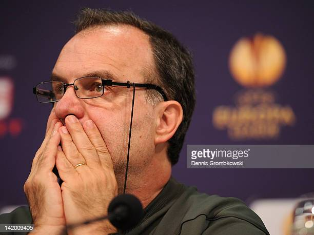 Head coach Marcelo Bielsa of Bilbao reacts during a press conference ahead of their UEFA Europa League quarterfinal match against FC Schalke 04 on...