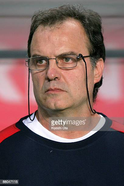 Head Coach Marcelo Bielsa of Chile watches his players prior to the Kirin Cup soccer between Belgium and Chile at Fukuda Denshi Arena on May 29, 2009...