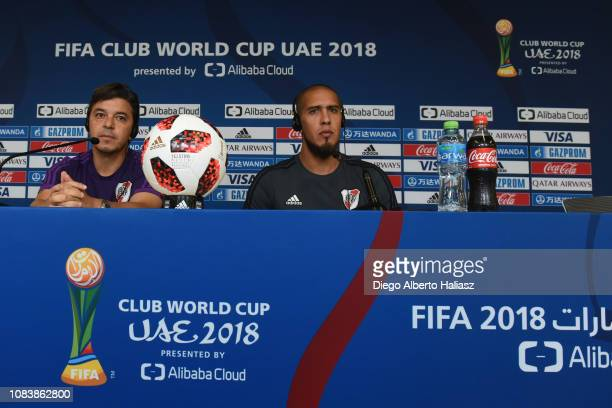 Head Coach Marcelo Gallardo and Jonatan Maidana of River Plate look on during a press conference ahead of the FIFA Club World Cup semifinal match...