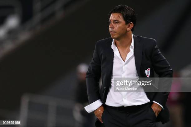Head coach Marcelo Gallardo of River Plate looks on during a match between Flamengo and River Plate as part of Copa CONMEBOL Libertadores 2018 at...