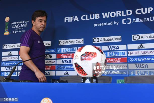 Head Coach Marcelo Gallardo of River Plate looks on during a press conference ahead of the FIFA Club World Cup semifinal match between Al Ain FC and...