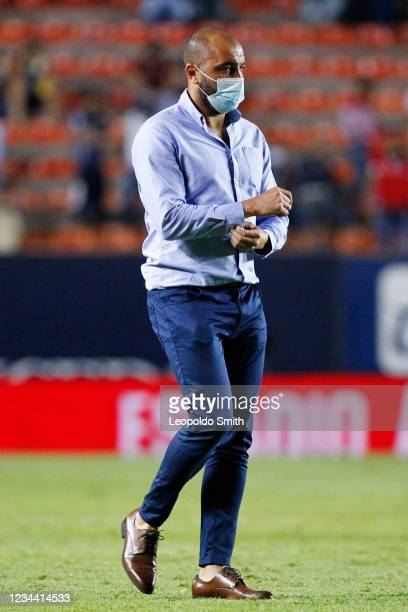Head coach Marcelo Mendez of Atletico San Luis leaves the field after a second round match 1-1 tie against Queretaro in the Torneo Grita Mexico A21...