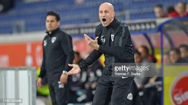 Head coach Marco Antwerpen of Muenster reacts during the 3 Liga match between KFC Uerdingen 05 and SC Preussen Muenster at SchauinslandReisenArena on...
