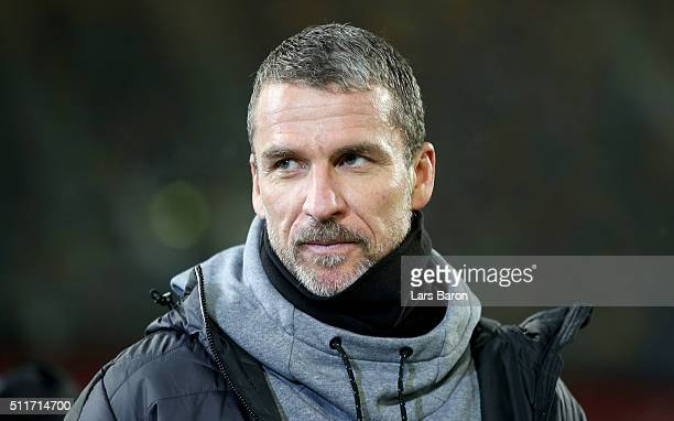 Head coach Marco Kurz of Duesseldorf is seen prior to the Second Bundesliga match between Fortuna Duesseldorf and 1 FC Nuernberg at EspritArena on...