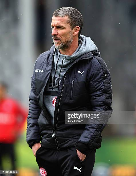 Head coach Marco Kurz of Duesseldorf looks on prior to the Second Bundesliga match between SC Freiburg and Fortuna Duesseldorf at SchwarzwaldStadion...
