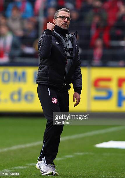 Head coach Marco Kurz of Duesseldorf reacts during the Second Bundesliga match between SC Freiburg and Fortuna Duesseldorf at SchwarzwaldStadion on...