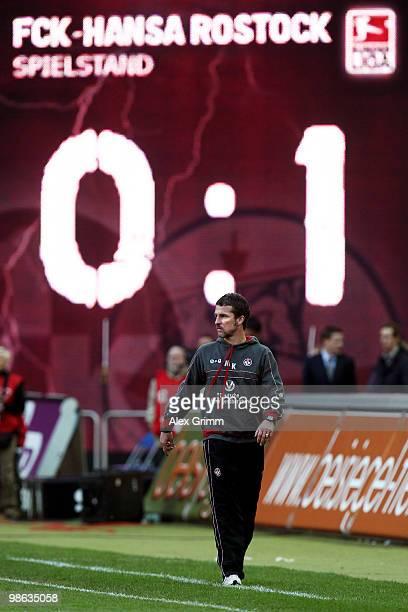 Head coach Marco Kurz of Kaiserslautern looks on during the Second Bundesliga match between 1 FC Kaiserslautern and Hansa Rostock at the FritzWalter...