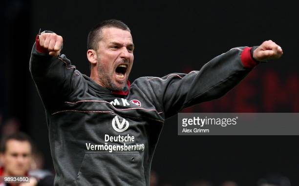 Head coach Marco Kurz of Lautern celebrates during the Second Bundesliga match between 1 FC Kaiserslautern and FC Augsburg at the FritzWalter Stadium...